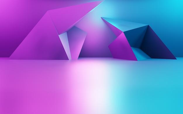 Renderowanie 3d fioletowego i niebieskiego abstrakcyjnego tła geometrycznego wykorzystanie koncepcji cyberpunk do reklamy