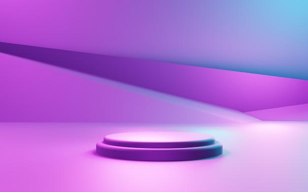 Renderowanie 3d fioletowego i niebieskiego abstrakcyjnego tła geometrycznego wyświetlanie produktu reklamowego