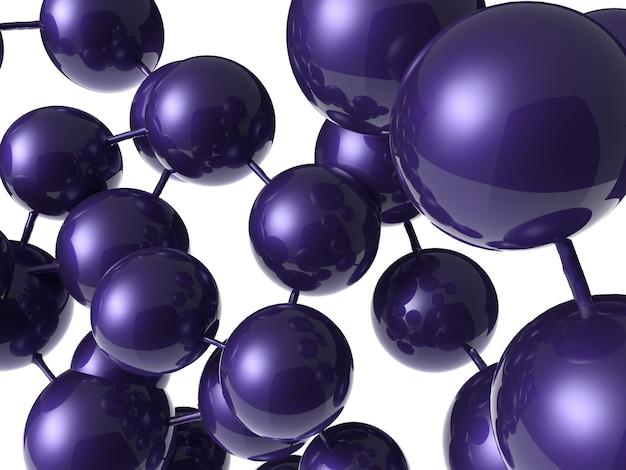 Renderowanie 3d fioletowej okrągłej struktury molekularnej