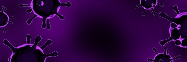 Renderowanie 3d. fioletowy mikroskopijny wirus z kolcami covid-19. światowa pandemia.
