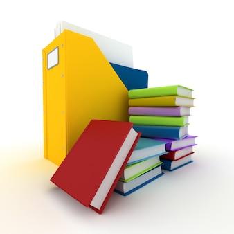 Renderowanie 3d folderu z dokumentami i stosem książek