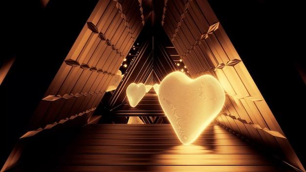 Renderowanie 3d futurystycznego pokoju ze złotymi światłami i kształtami serca