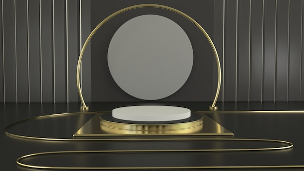 Renderowanie 3d geometria czarnego podium ze złotymi elementami. streszczenie geometryczny kształt puste podium.