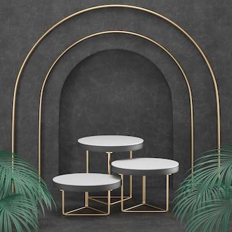 Renderowanie 3d geometria czarnego podium ze złotymi elementami.
