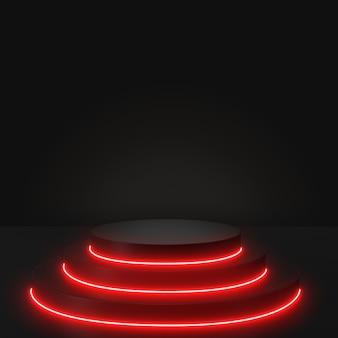 Renderowanie 3d geometryczne, świecące linie, tunel, czerwone neony, abstrakcyjne tło, z czarnym podium.