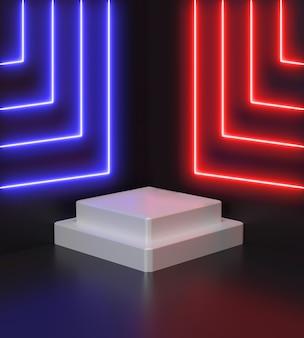 Renderowanie 3d geometryczne, świecące linie, tunel