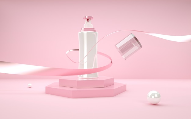 Renderowanie 3d geometrycznego abstrakcyjnego tła z butelką perfum do makiety wyświetlacza