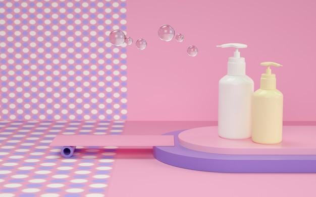 Renderowanie 3d geometrycznego tła z butelką szamponu do makiety wyświetlacza