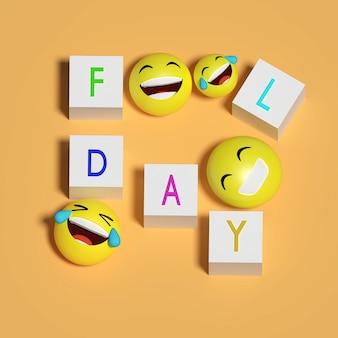 Renderowanie 3d. głupi dzień i emotikon uśmiech