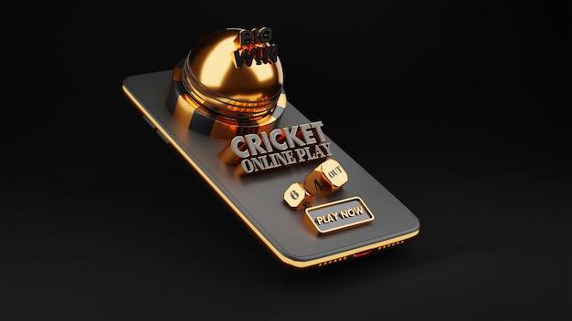 Renderowanie 3d gry w krykieta online za pośrednictwem smartfona w kolorze czarnym i złotym.