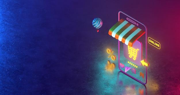 Renderowanie 3d ikon koszyka na zakupy i światła neonowego.