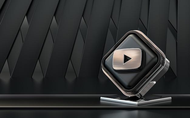 Renderowanie 3d ikona youtube baner mediów społecznościowych ciemne abstrakcyjne tło