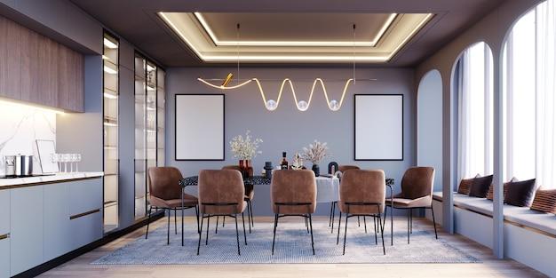 Renderowanie 3d, ilustracja 3d, makieta sceny wewnętrznej i ramy, jadalnia i bar, brązowe krzesła i nowoczesne żyrandole z ramami ściennymi.