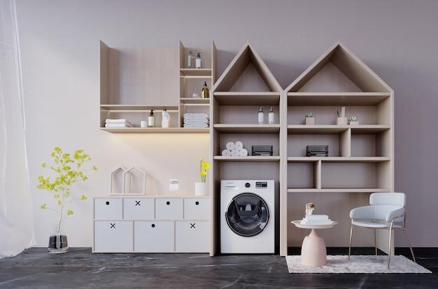 Renderowanie 3d, ilustracja 3d, scena wewnętrzna i makieta, minimalna jasna drewniana półka do mycia.