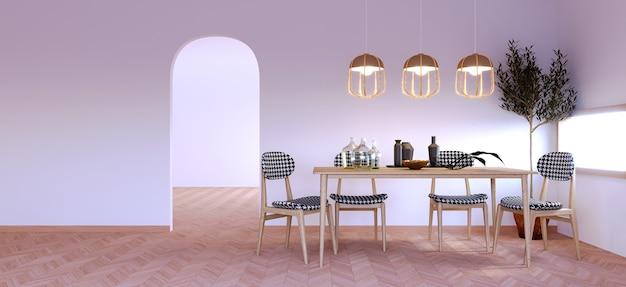 Renderowanie 3d, ilustracja 3d, scena wewnętrzna i makieta nowoczesny styl, stół jadalny z białą ścianą