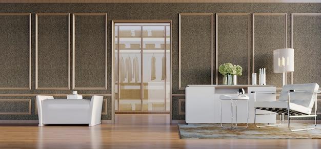 Renderowanie 3d, ilustracja 3d, scena wewnętrzna i makieta, ściana z brązowej tkaniny z białym nowoczesnym fotelem i konsolą oraz stołkiem ozdobionym drewnianymi panelami ramowymi