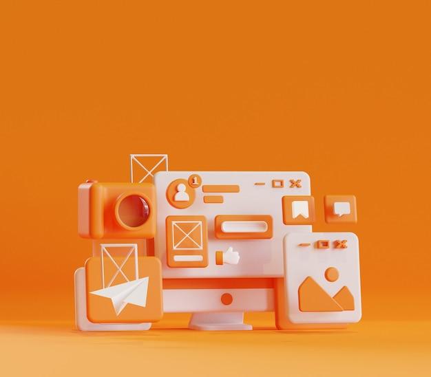 Renderowanie 3d ilustracja aktywności internetowej w mediach społecznościowych na komputerze stacjonarnym