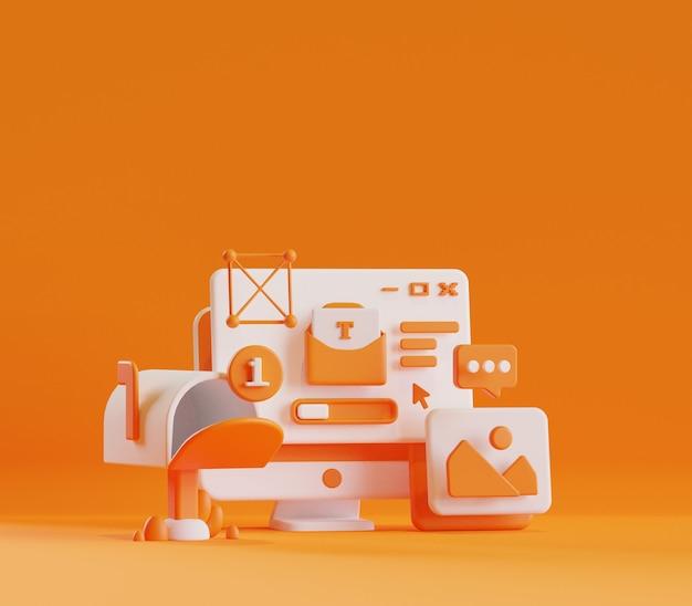 Renderowanie 3d ilustracja aktywności komunikacji społecznościowej e-mail na pulpicie