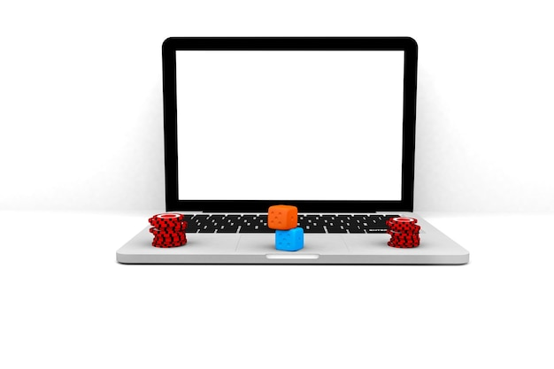 Renderowanie 3d ilustracja. komputerowy notebook kasyno online. koncepcja gry hazardowej online laptop internetowy.