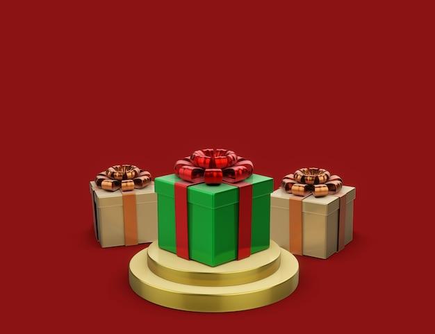 Renderowanie 3d ilustracja podium w kształcie geometrycznym ozdobione pudełkami na prezenty i ozdoby świąteczne, koncepcja nowego roku, miejsce na kopię do wyświetlania prezentacji produktu