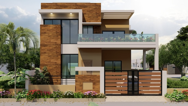 Renderowanie 3d indywidualnego nowoczesnego domu