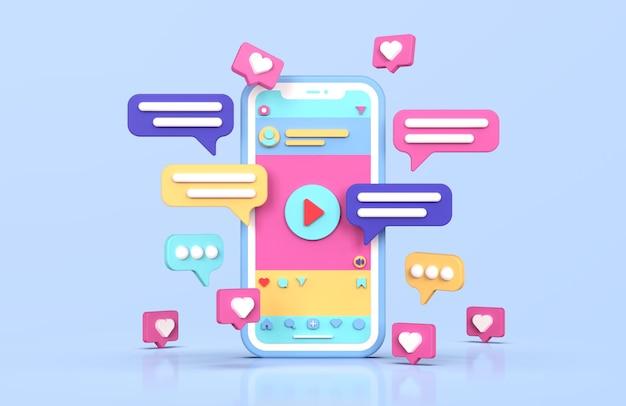 Renderowanie 3d interfejs social media instagram