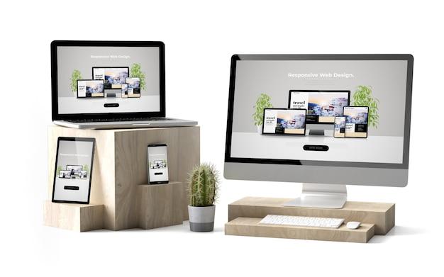 Renderowanie 3d izolowanych urządzeń na drewnianych kostkach pokazujących responsywną stronę internetową