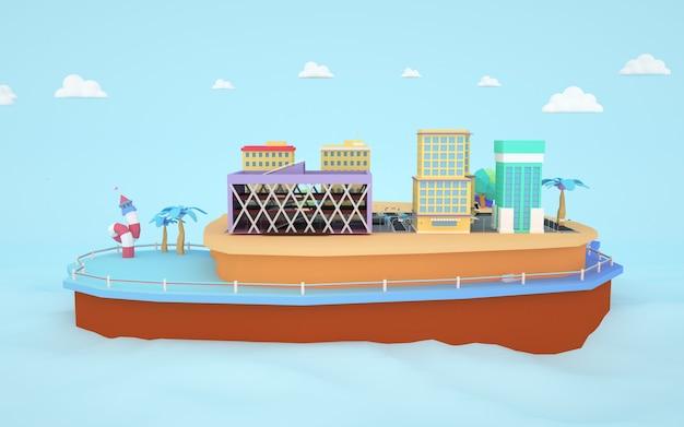 Renderowanie 3d izometrycznego budynku mieszkalnego miasta nad wyspą