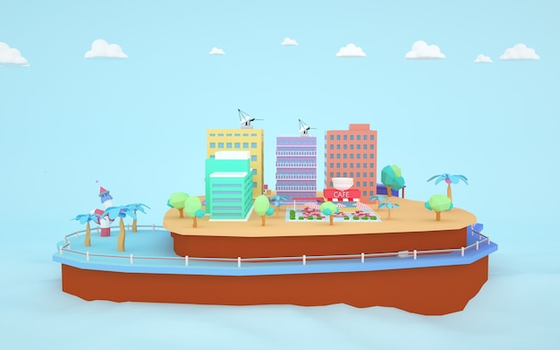 Renderowanie 3d izometrycznych budynków mieszkalnych na wyspie
