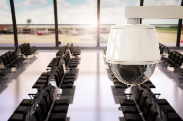 Renderowanie 3d kamera cctv lub kamera bezpieczeństwa w terminalu lotniska