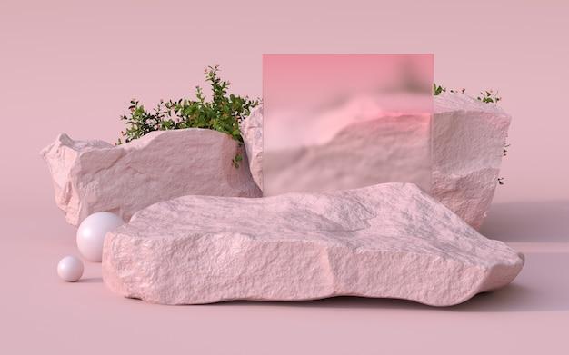 Renderowanie 3d kamienia podium i roślin.