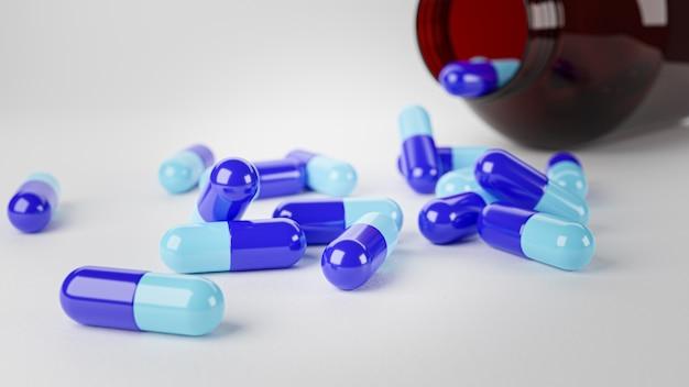 Renderowanie 3d. kapsułki tabletki leku na białym tle