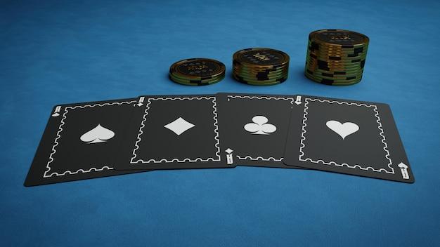 Renderowanie 3d karty do pokera i żetony do kasyna na niebieskim tle