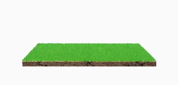 Renderowanie 3d. kawałek ziemi zielona trawa na białym tle.