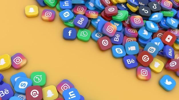 Renderowanie 3d kilku kwadratowych odznak z logo głównych aplikacji sieci społecznościowych na pomarańczowym tle
