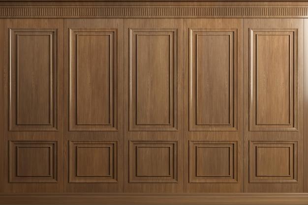 Renderowanie 3d. klasyczna ściana z paneli z drewna dębowego w stylu vintage. stolarka we wnętrzu. tło.