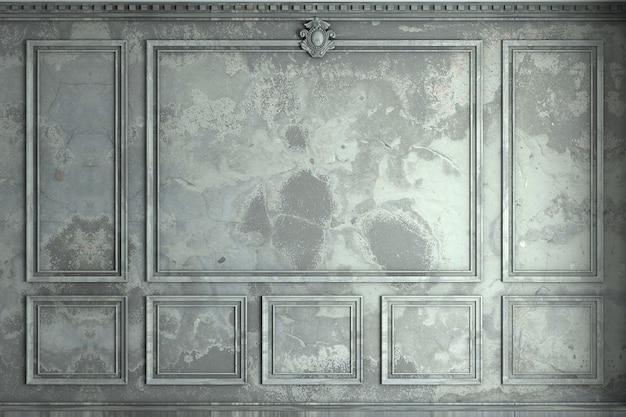 Renderowanie 3d. klasyczna ściana ze starych paneli ściennych. stolarka we wnętrzu. tło.