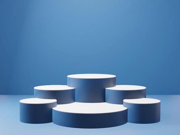 Renderowanie 3d klasycznego niebieskiego podium na cokole na wyraźnie tle, abstrakcyjne minimalne puste miejsce na podium dla produktu kosmetycznego