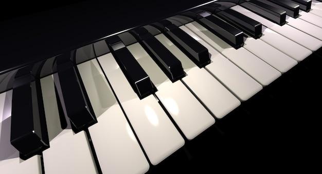 Renderowanie 3d klawiatury fortepianu wykonane ukośnie
