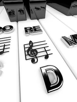 Renderowanie 3d, klawisze fortepianu z nutami wiolinowymi. tło muzyczne