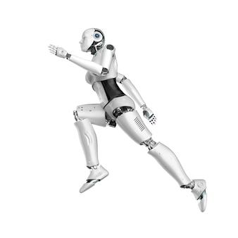 Renderowanie 3d kobiecego cyborga lub robota biegającego lub skaczącego na białym tle