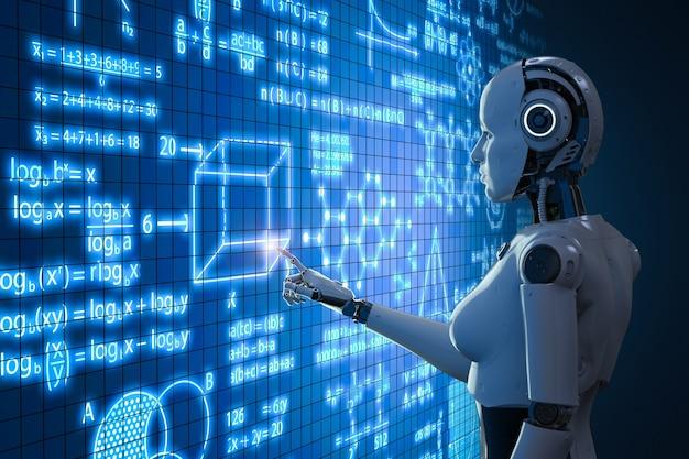 Renderowanie 3d kobiecego cyborga lub robota uczącego się z graficznym interfejsem edukacyjnym