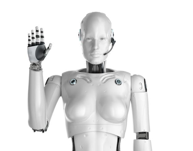Renderowanie 3d kobiecego cyborga lub robota z podniesionym zestawem słuchawkowym