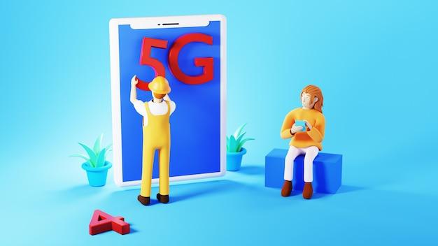 Renderowanie 3d kobiety ze swoim smartfonem i pracownikiem umieszczającym znak 5g na smartfonie na niebieskim tle