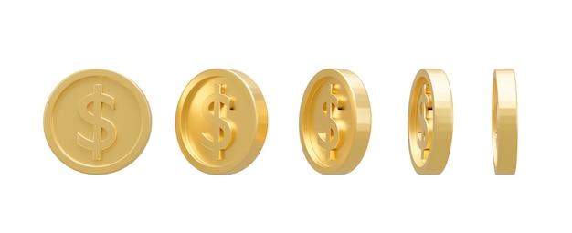 Renderowanie 3d. kolekcja monet dolarowych na białym tle