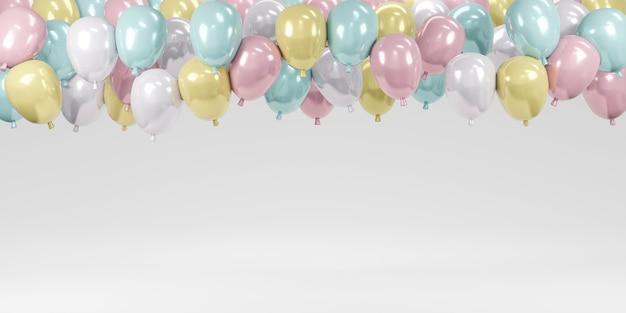 Renderowanie 3d kolorowych pastelowych balonów unoszących się na białym tle na tle imprezy imprezowej