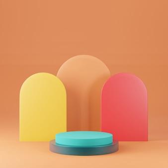 Renderowanie 3d kolorowych podestów na cokole na wyraźnym tle, abstrakcyjne minimalne puste miejsce na podium dla produktu kosmetycznego,