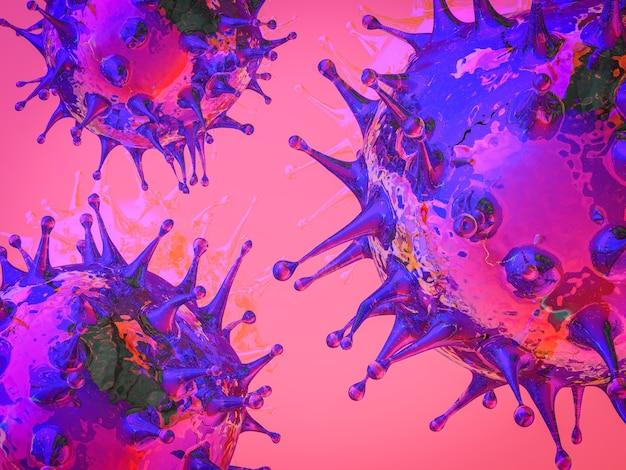 Renderowanie 3d komórki koronawirusa lub komórki covid19
