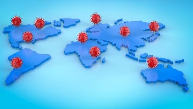 Renderowanie 3d komórki koronawirusa lub pandemii komórek covid-19 na całym świecie