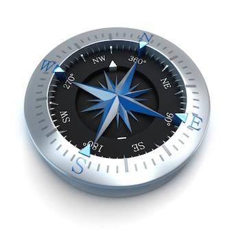 Renderowanie 3d kompasu na białej powierzchni